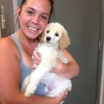 Registered Massage Therapist Jessica Nepton is seen here with puppy Abby!