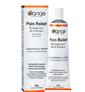 Pain relief cream orange naturals, homeopathic cream, homeopathic remedy, aches, pains, strains, brusies