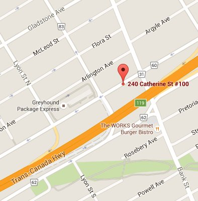 Map of our Location, Downtown Chiropractic Massage and Naturopathic Clinic, Directions